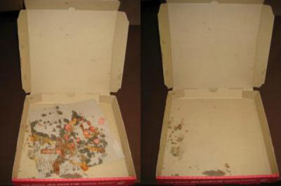 greased pizza box