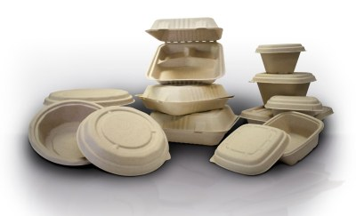 biodegradable boxes on display